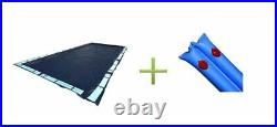 25' x 45' Dark Blue Winter Rectangular In Ground Pool Cover with 10 Ft Water Tubes
