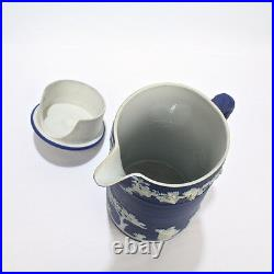 Antique Dark Blue Jasperware Wedgwood Only Chocolate Pot with Lid Cover PC