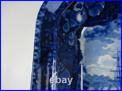 Antique Dark Blue Staffordshire Ship of the Line in the Downs Covered Vegetable
