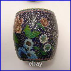 Chinese high quality cloisonne covered box barrel shaped 10 cm high