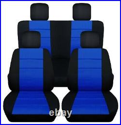 Front and Rear car seat covers Fits Jeep wrangler JL 2018-2020 black-dark blue