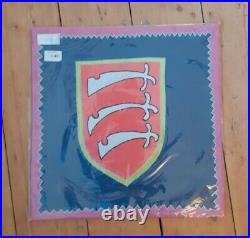 Grayson Perry coat of arms inverted Essex Cushion cover dark blue