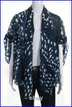 Hermes Womens Silk Spotted Print Cover Up Blouse Dark Blue White Size 8