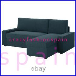 IKEA VILASUND Cover sofa-bed with chaise longue, Hillared dark blue
