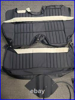 Jaguar E-Type 2+2 Rear Leather Seat Covers Dark Blue Perforated