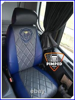 TRUCK SEAT COVERS SCANIA R/G/P-series 2005-2013 Full ECO LEATHER blue&dark grey