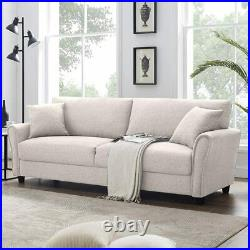 Upholstered 85 inch Sofa Modern Linen Living Room Couch Polyester Fabric Cover